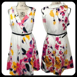 Lane Bryant Sleeveless Ruffle V-Neck Floral Dress